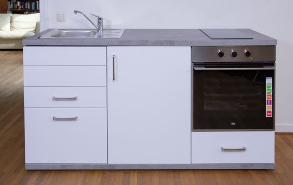 MKMS 165 - Küchenzeile mit Kühlschrank, Backofen & Kochfeld