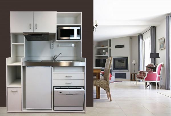 Schrankküche SK Open Concept 150 Holz - inkl. Hängeschrank & Ablagefläche