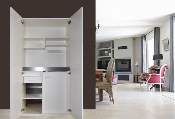 Schrankküche SK Basic Plus 120 Holz - inkl. Beleuchtung & Schublade